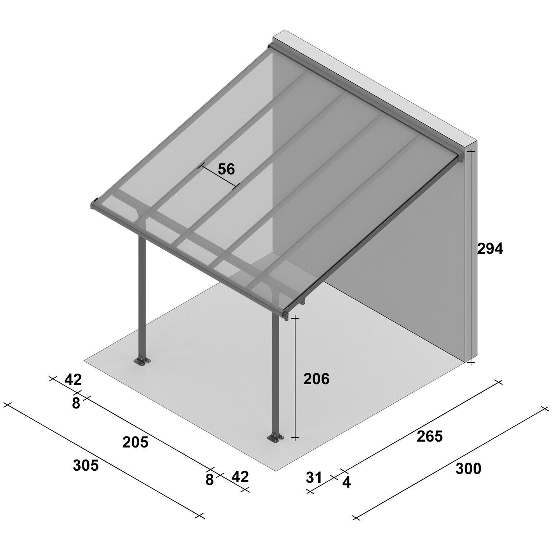 Pergola alluminio Emilia trasparente L 305 cm x P 300 cm, H 3 m - 5