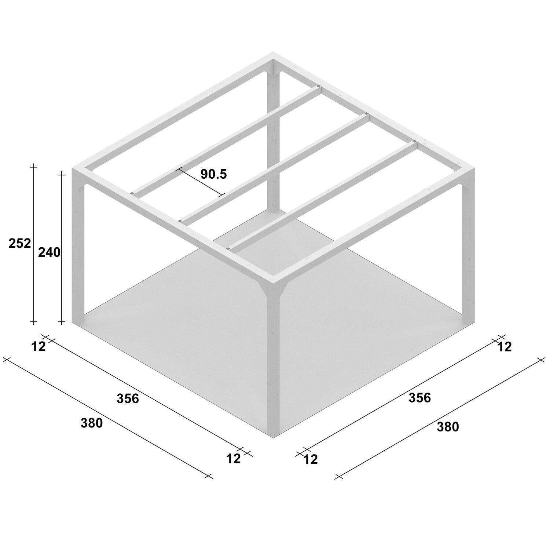 Pergola Andromeda in legno bianco L 380 x P 380 , H 240 cm - 3