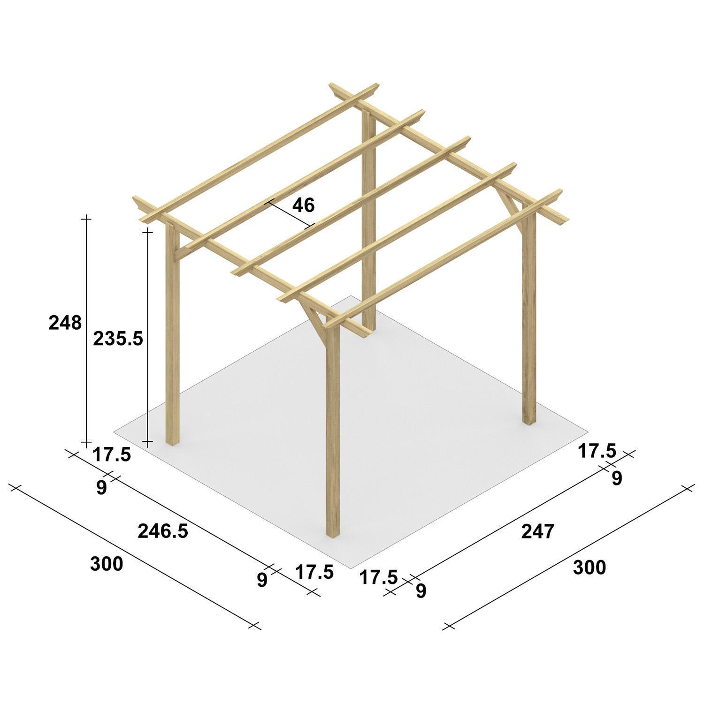 Pergola Apple in legno marrone L 300 x P 300 , H 248 cm - 2