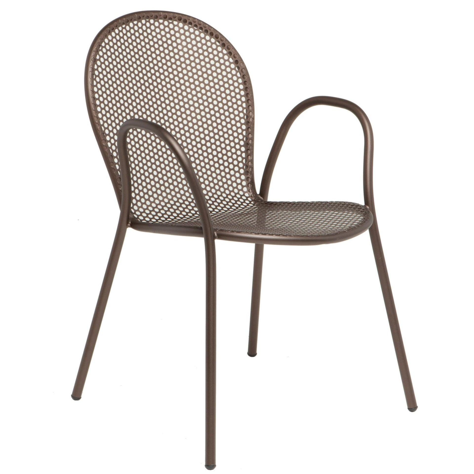 Sedia con braccioli senza cuscino Pavesino OASI BY EMU colore avana - 1