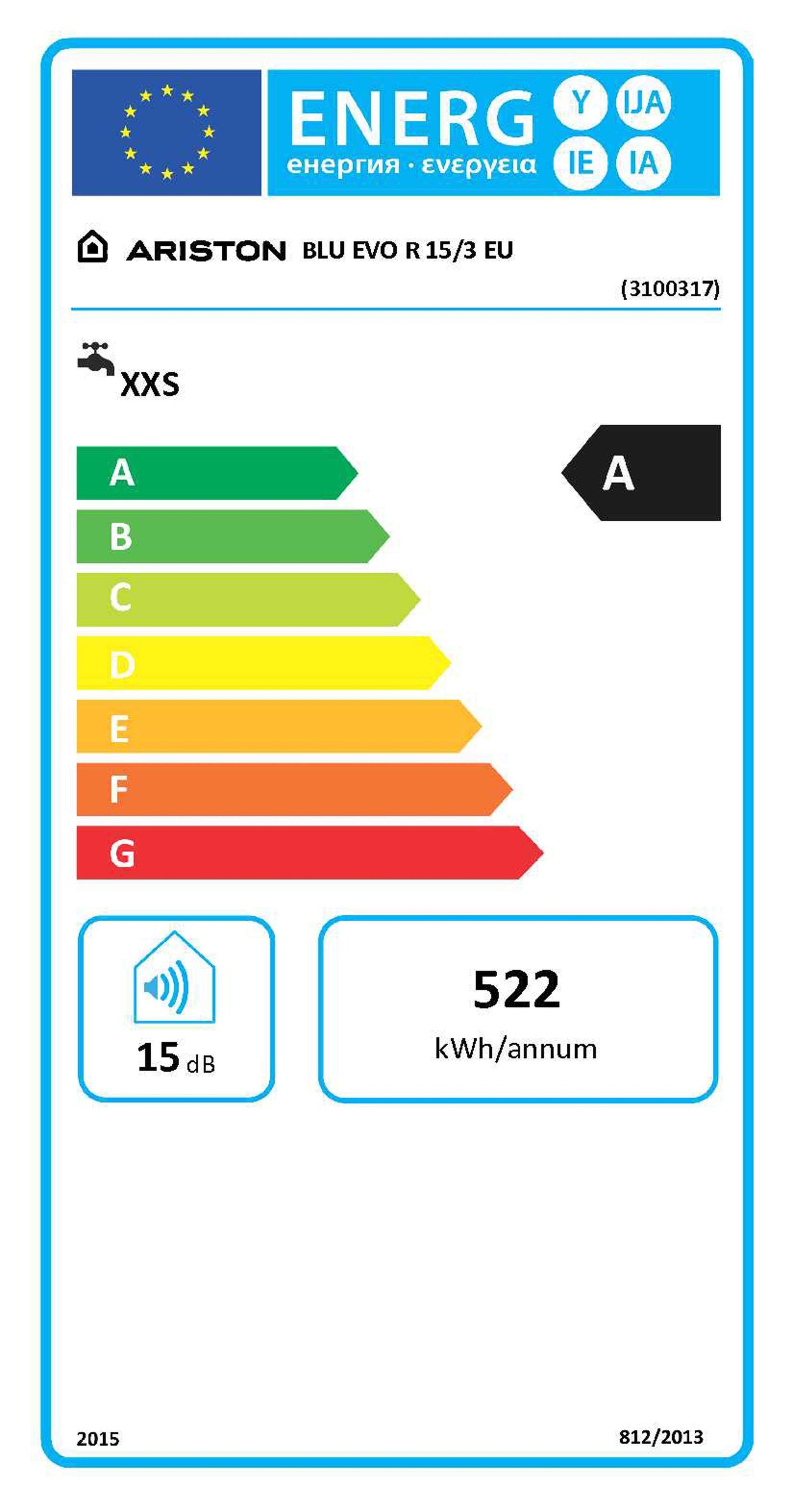 Scaldabagno elettrico ARISTON Blu Evo R sopralavello 15 L 1200 W - 2