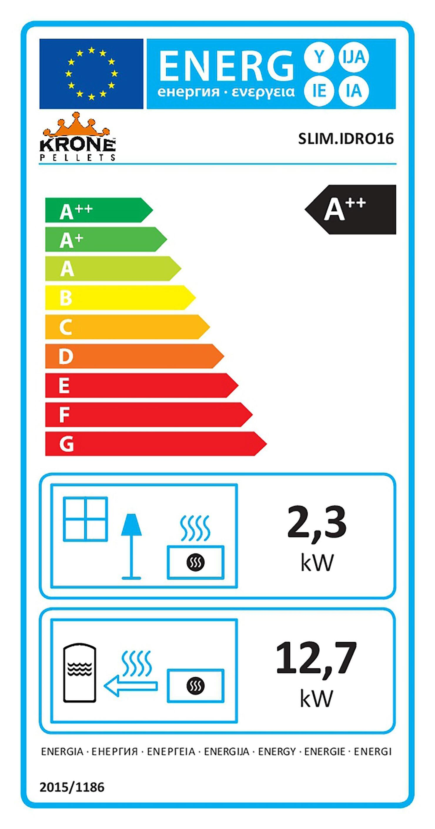 Stufa pellet idro KRONE Slim 16-WKR 15 kW bianco - 4