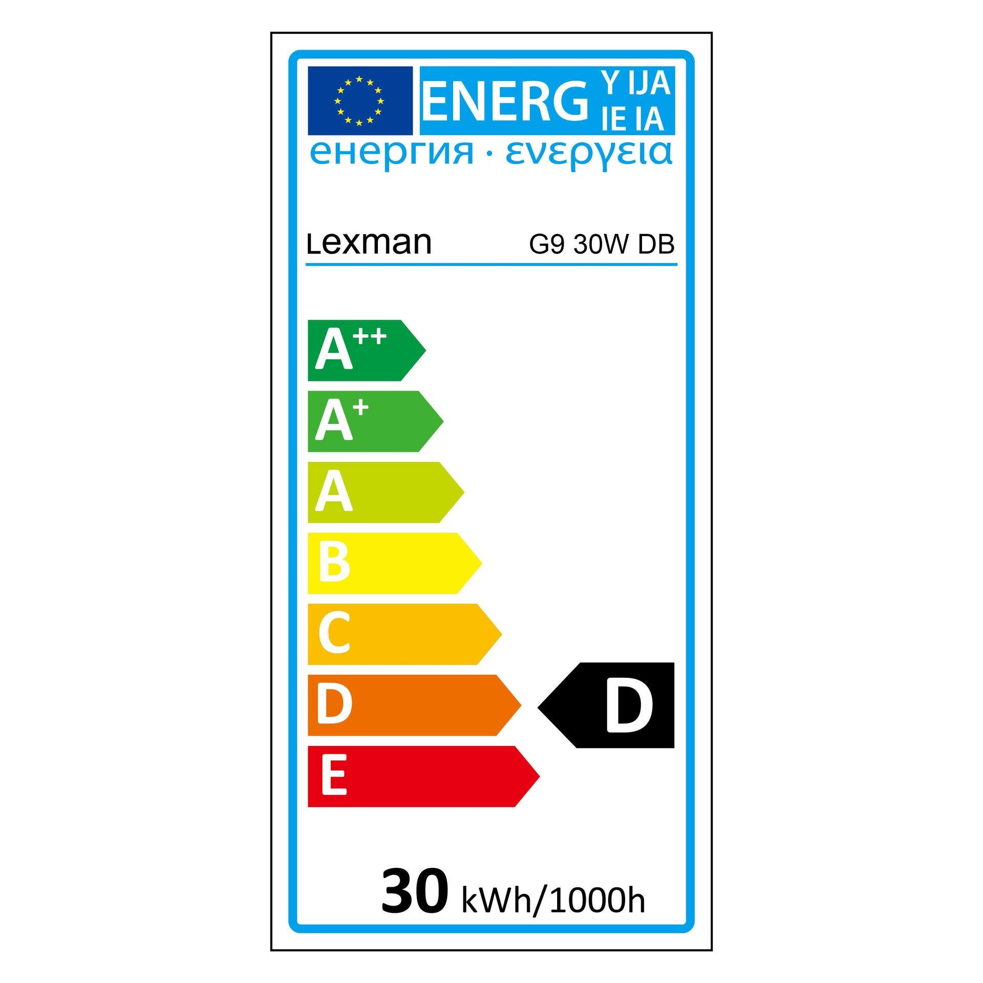 Lampadina Alogena, G9, Capsula, Trasparente, Luce calda, 30W=410LM (equiv 40 W), 5° , LEXMAN - 3