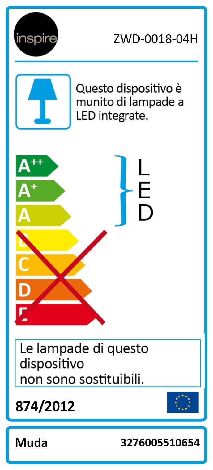 Lampadario Moderno Muda LED integrato cromo, in alluminio, L. 90.0 cm, INSPIRE - 4