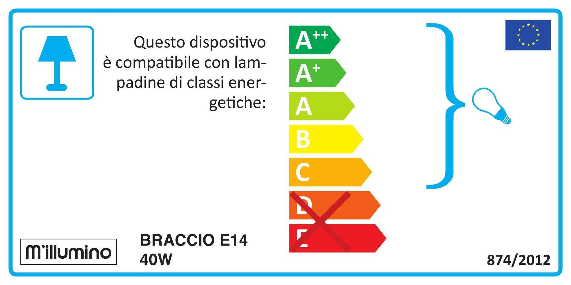 Faretto a muro Braccio bronzo, in alluminio, E14 40W IP23 - 2