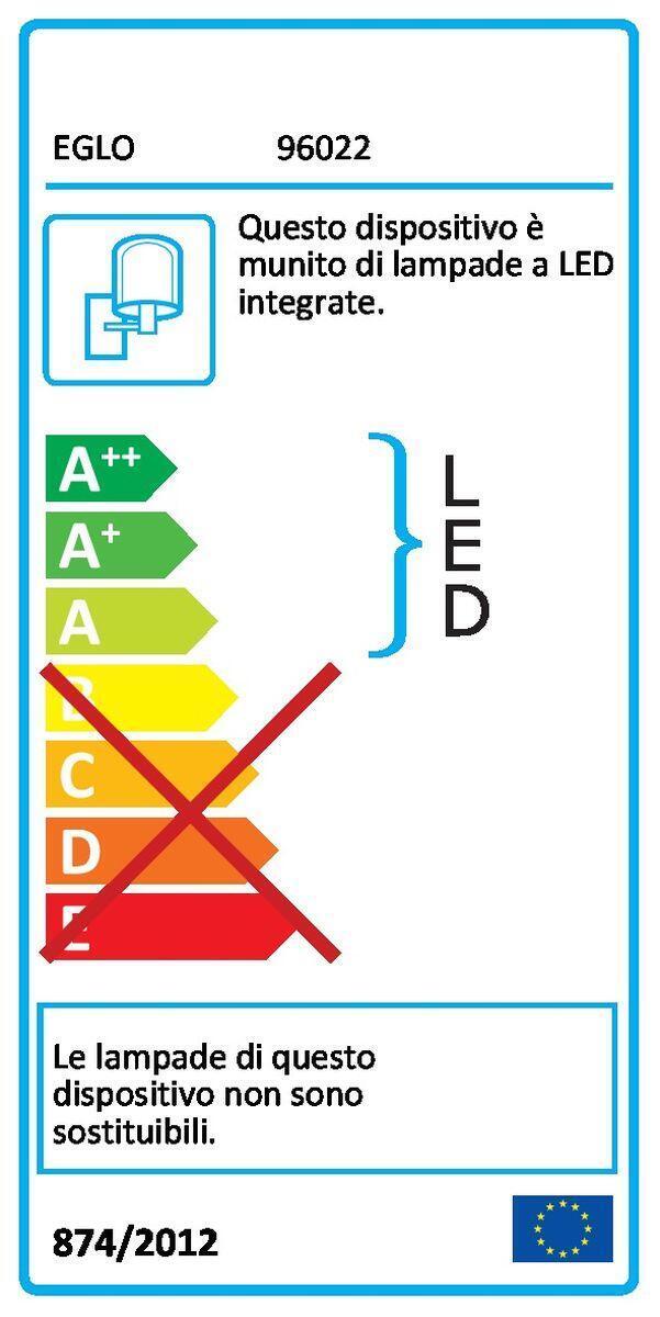 Applique Sesimba LED integrato in inox, bianco, 3.7W 560LM IP44 EGLO - 3