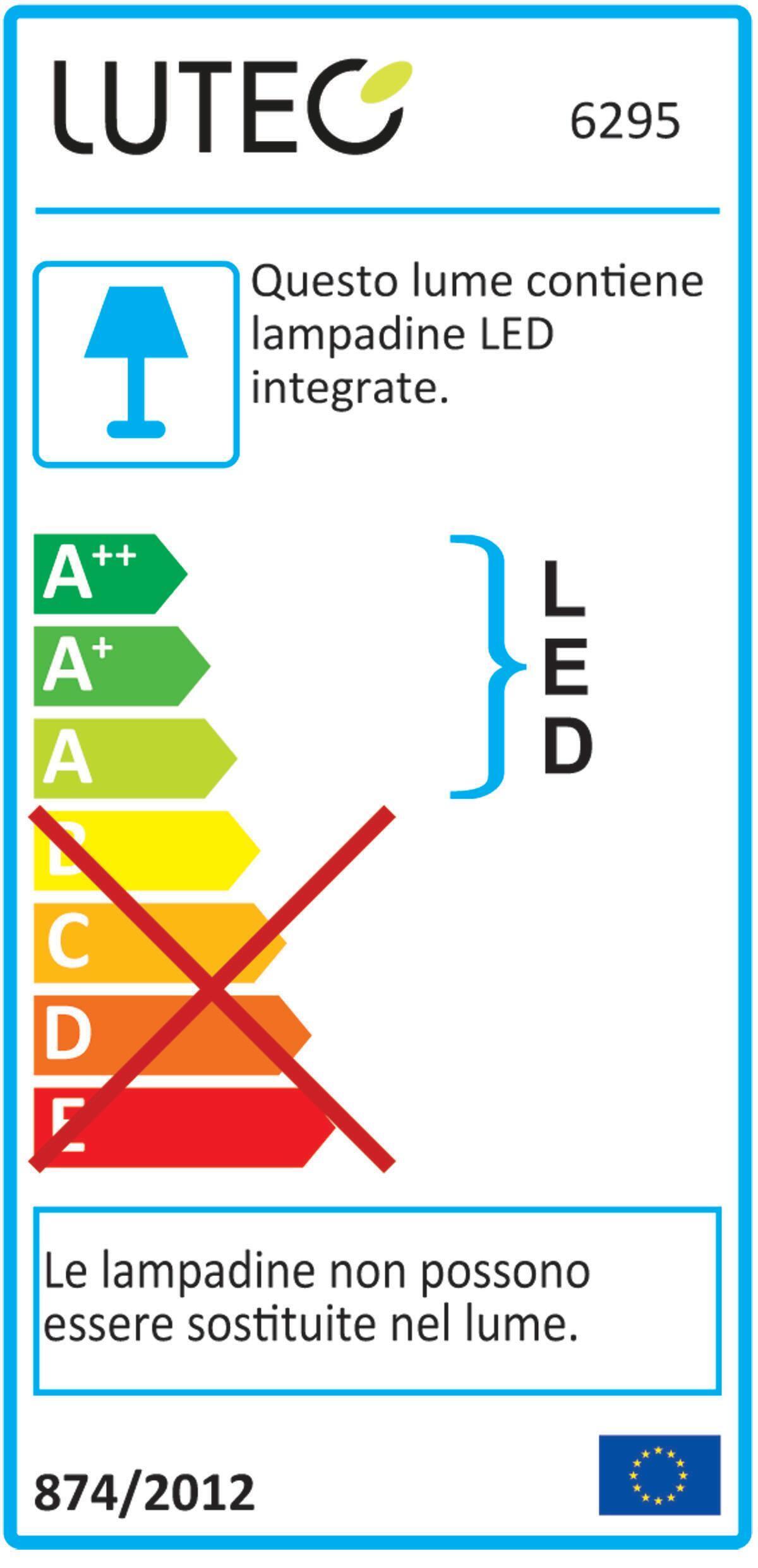 Applique Peri LED integrato con sensore di movimento, in policarbonato, grigio, 20W 1710LM IP54 LUTEC - 2