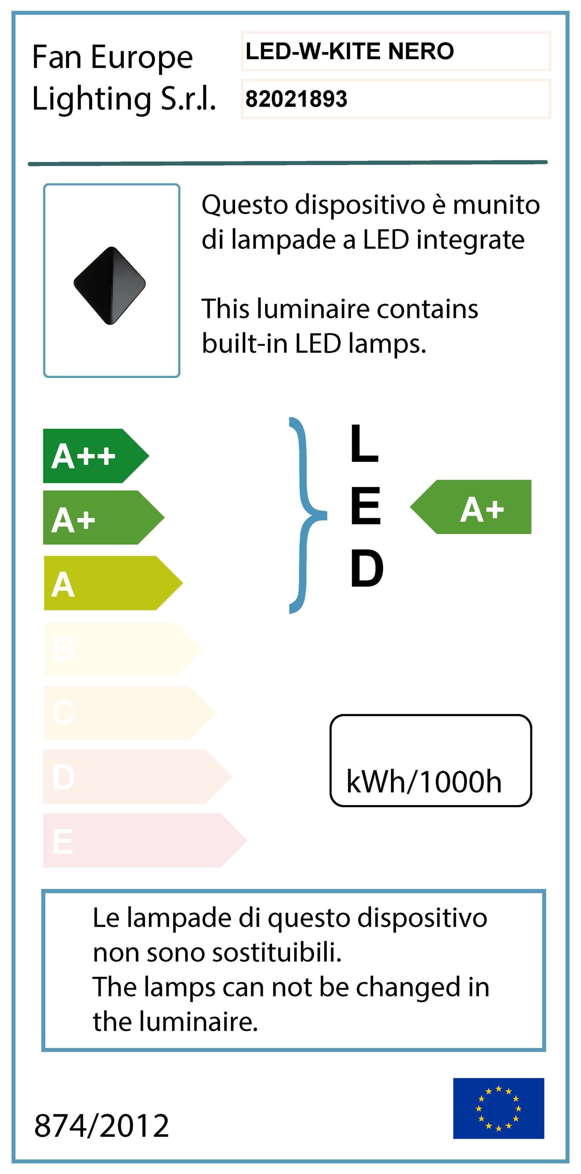 Applique Kite LED integrato in alluminio, nero, 40W 550LM IP54 INTEC - 2