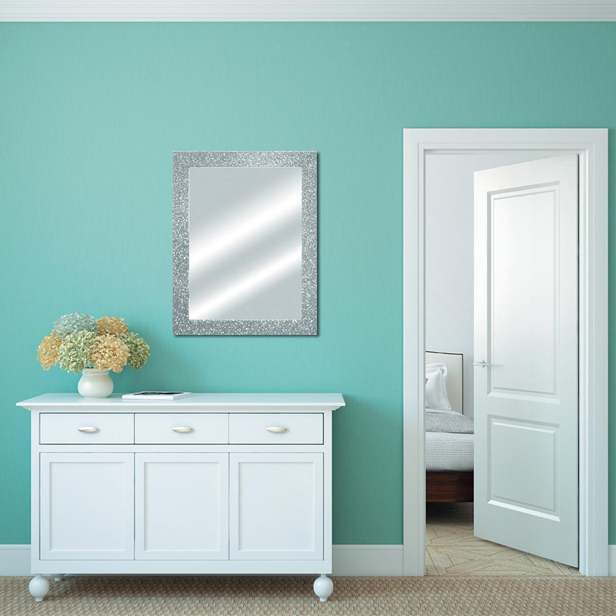 Specchio a parete rettangolare Glitterato argento 60x90 cm - 1