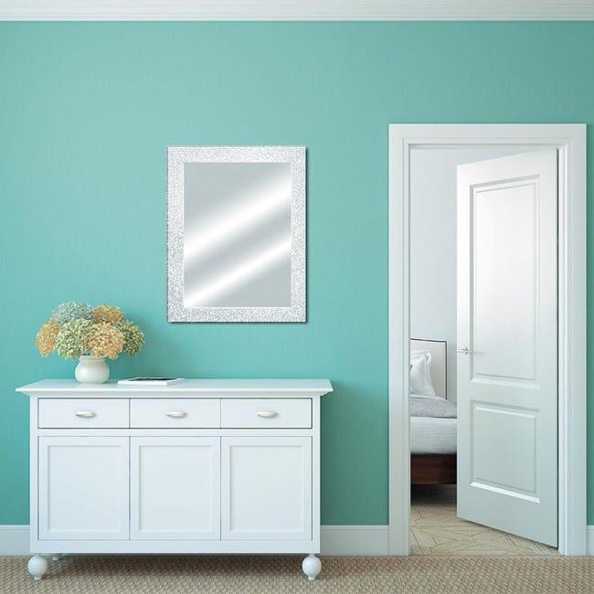 Specchio a parete rettangolare Glitterata bianco 60x90 cm - 1