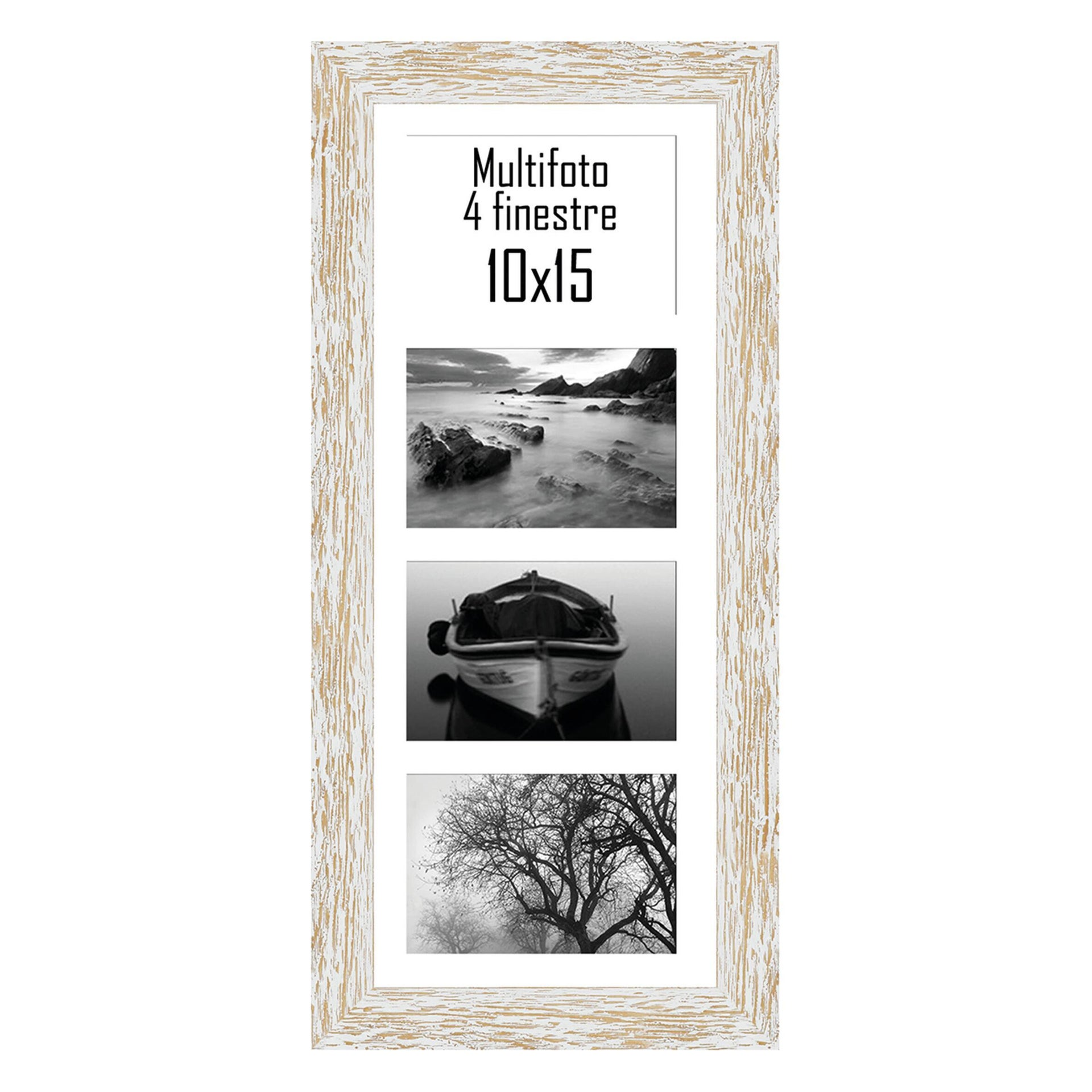 Cornice Gaia per 4 fotografie 10 x 15 bianco<multisep/>bianco - 1