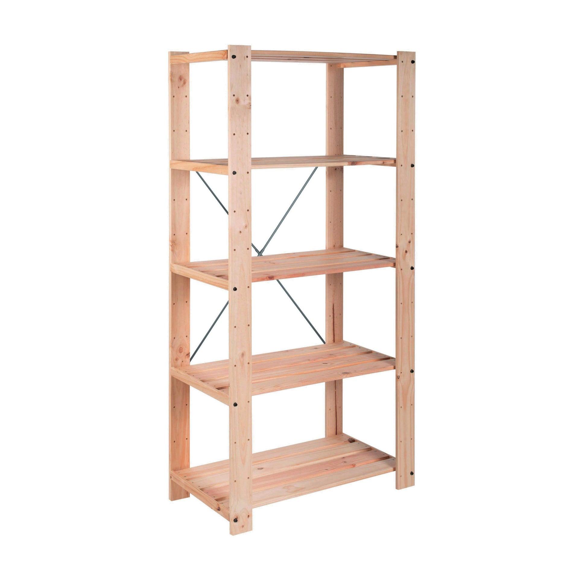 Scaffale in legno in kit L 76.7 x P 43 x H 174.2 cm naturale - 1