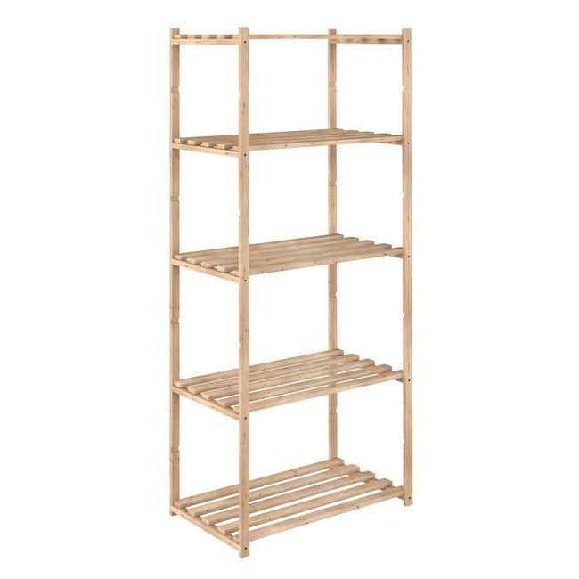 Scaffale in legno in kit L 65 x P 40 x H 171 cm naturale - 1