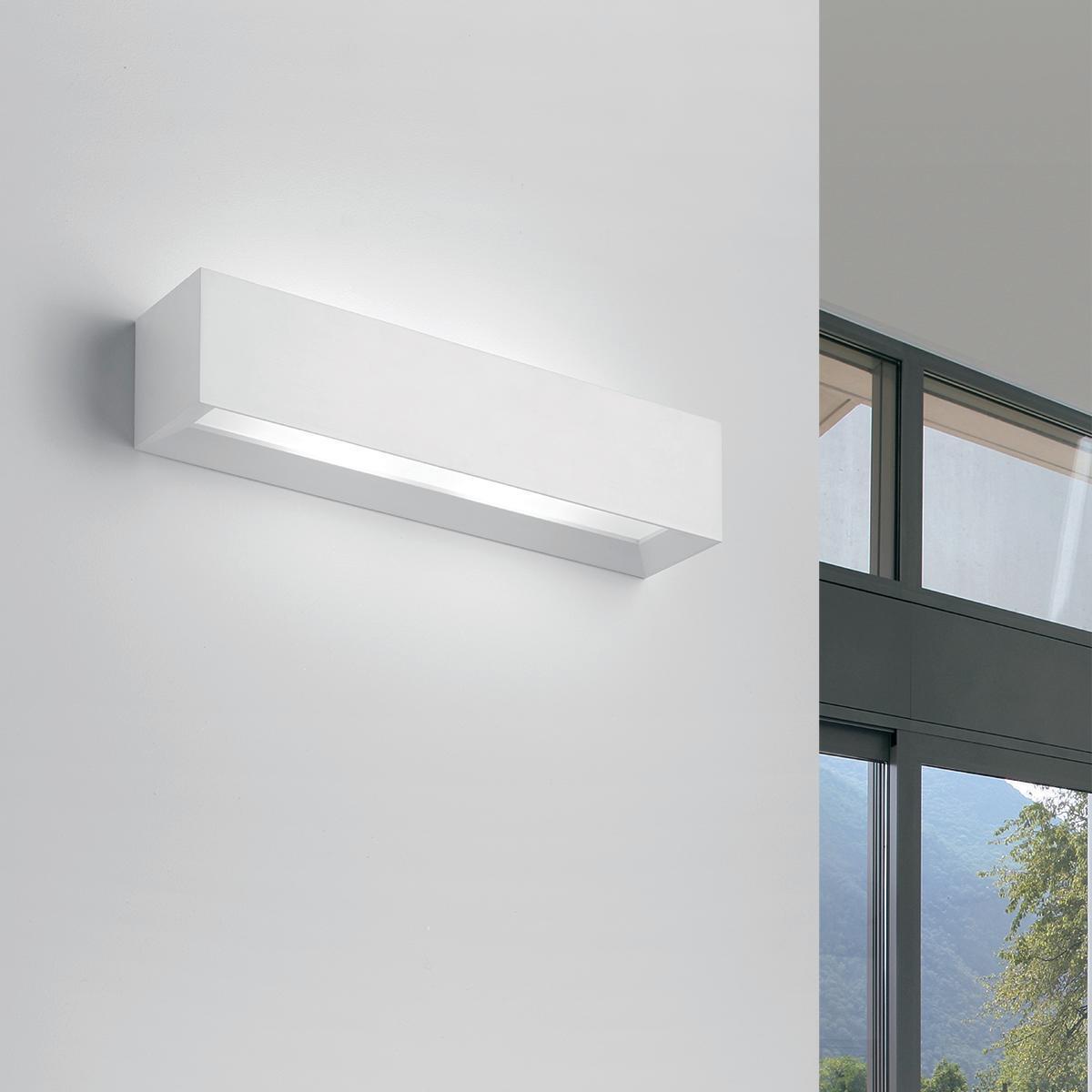 Applique design Hermione bianco, in gesso, 7x35 cm, 2 luci TECNICO - 1