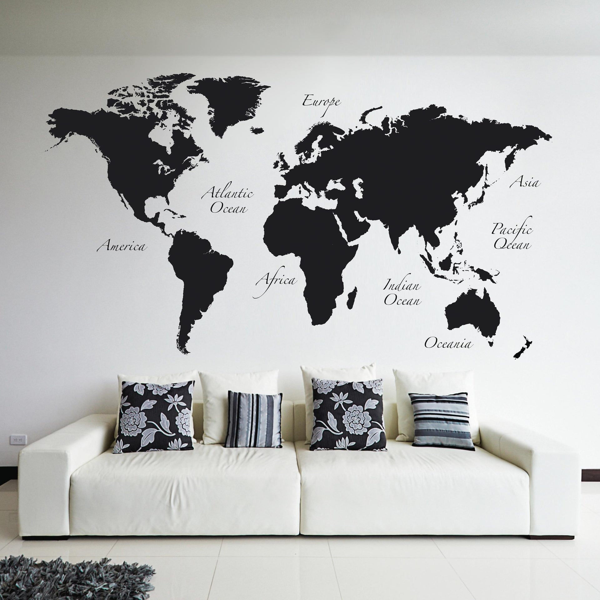 Sticker Giant Wall Worldmap 100x100 cm - 1