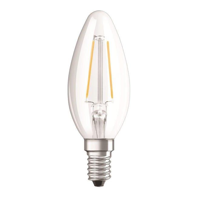 Lampadina LED filamento, E14, Oliva, Trasparente, Luce calda, 3W=250LM (equiv 25 W), 320° , OSRAM - 1