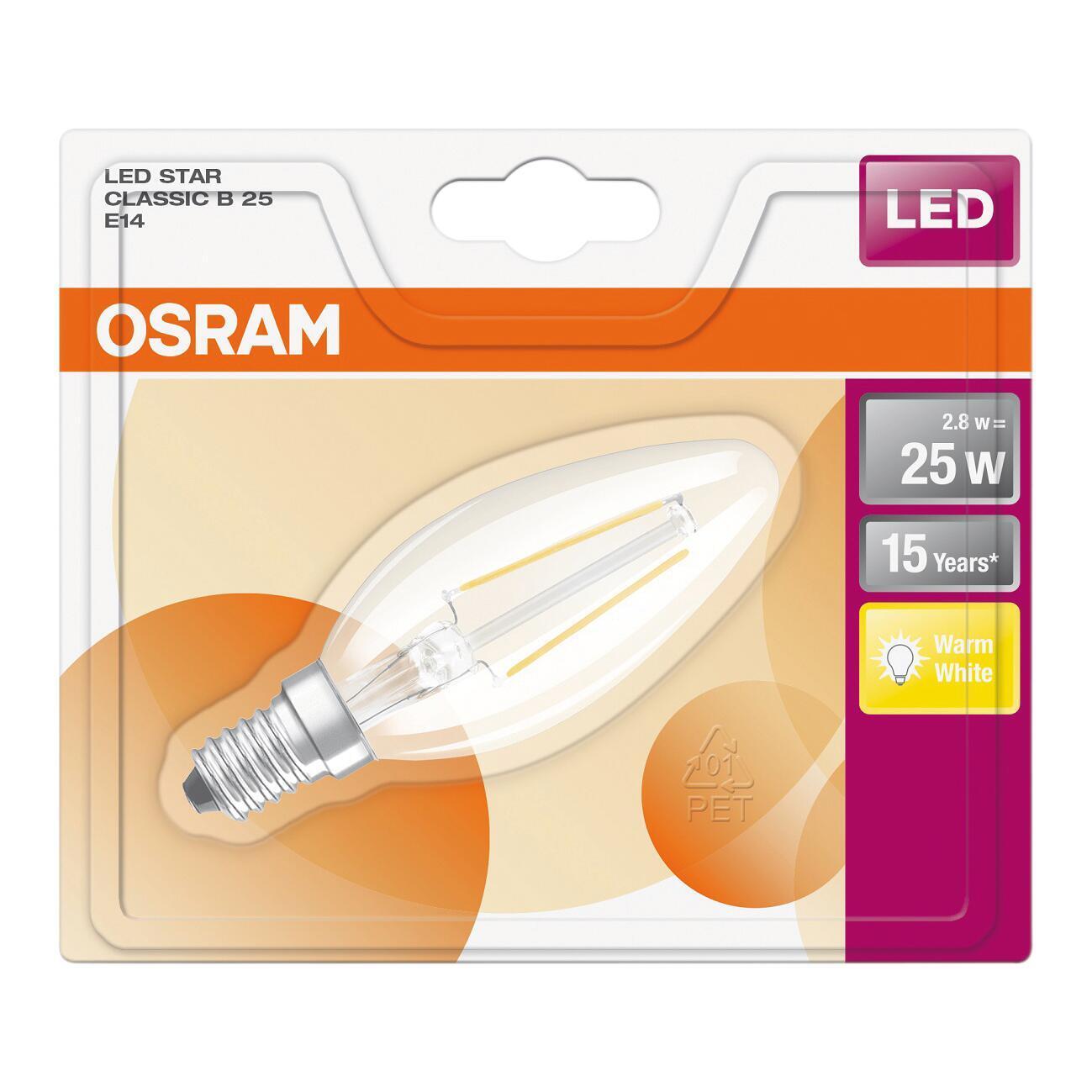 Lampadina LED filamento, E14, Oliva, Trasparente, Luce calda, 3W=250LM (equiv 25 W), 320° , OSRAM - 5