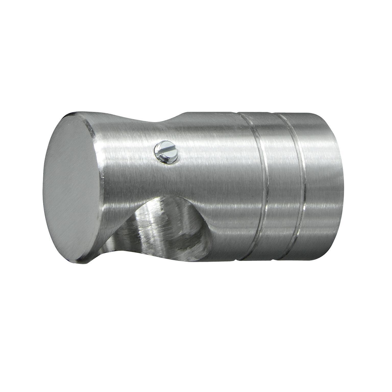Supporto singolo chiuso Ø20mm Time in metallo acciaio satinato 4.5cm, 2 pz