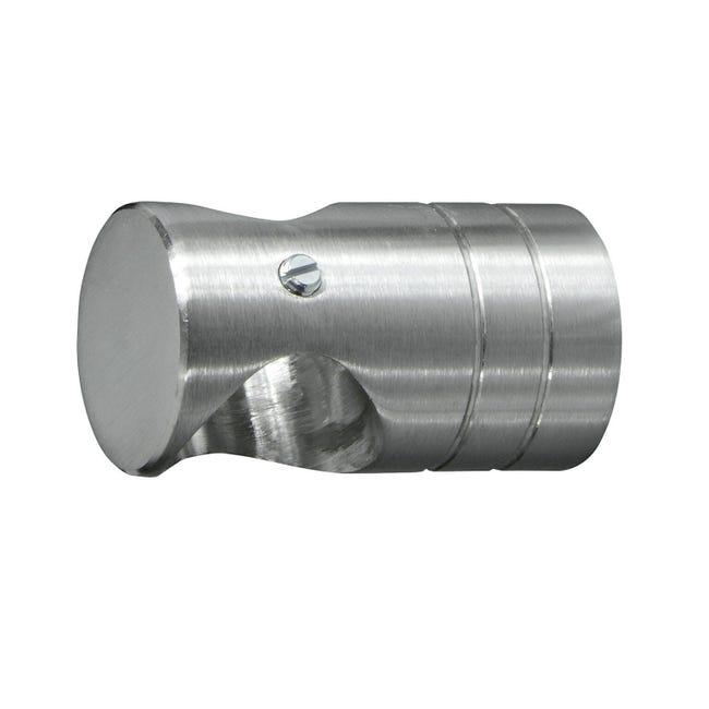 Supporto singolo chiuso Ø20mm Time in metallo acciaio satinato 4.5cm, 2 pz - 1