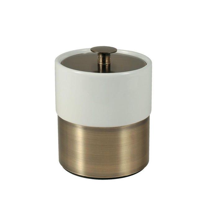 Porta cotone Modena in ceramica bianco bronzo - 1
