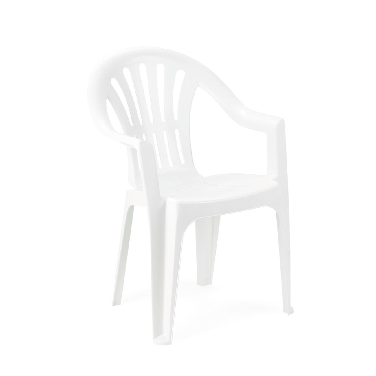 Sedia con braccioli senza cuscino Kona colore bianco