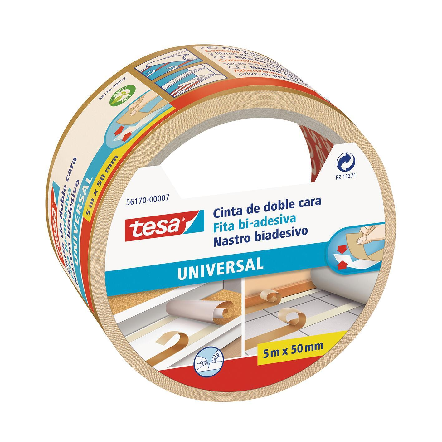 Nastro bi-adesivo TESA TAPE Biadesivo universale filmico 5 m x 50 mm bianco - 1