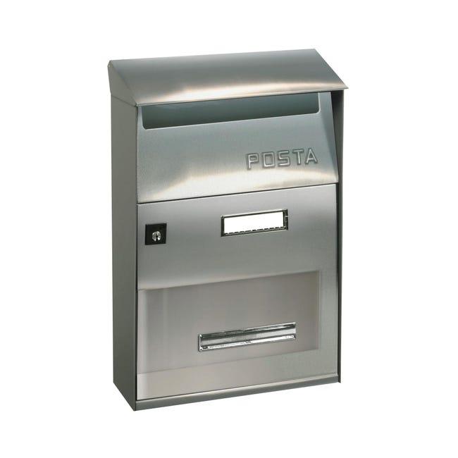 Cassetta postale ALUBOX formato Lettera, grigio / argento , L 22 x P 11 x H 32.5 cm - 1