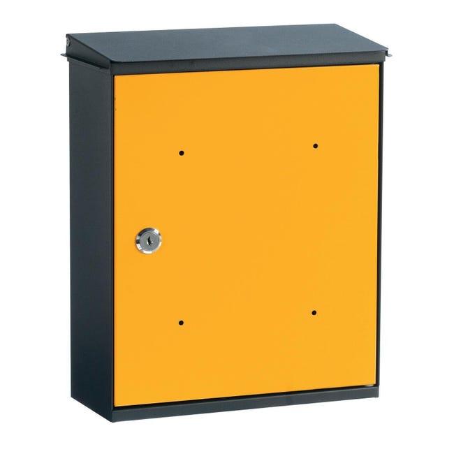 Cassetta postale ALUBOX formato Rivista, giallo / dorato , L 26 x P 11 x H 33 cm - 1