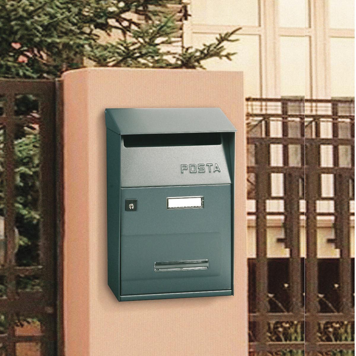 Cassetta postale ALUBOX formato Lettera, grigio / argento , L 22 x P 11 x H 32.5 cm - 3