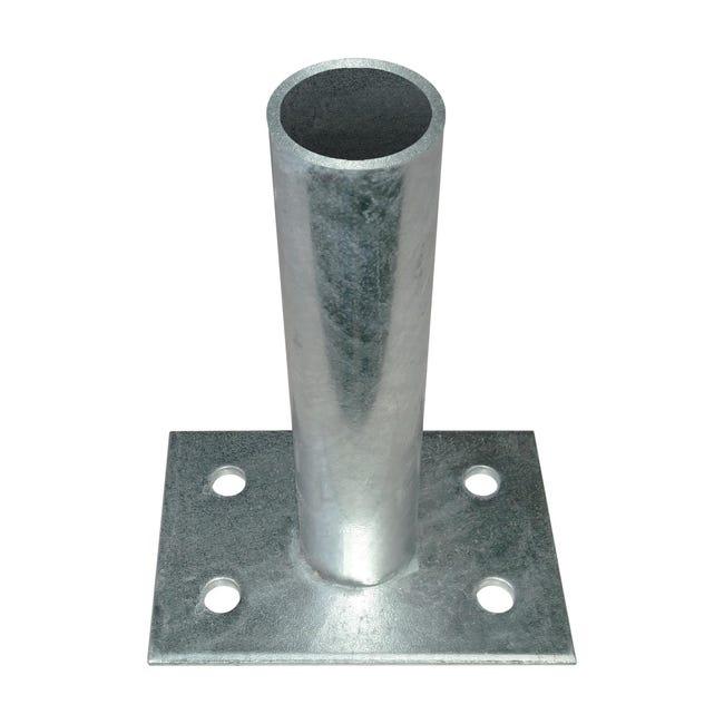 Supporto per palo FERRO BULLONI Supporto per palo medium tondo in acciaio galvanizzato da fissare grigio L 10x H 21 - 1