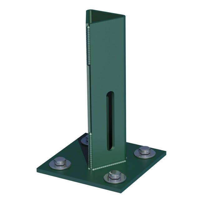 Supporto per palo FERRO BULLONI in acciaio galvanizzato plastificato da fissare verde L 100x H 15 - 1