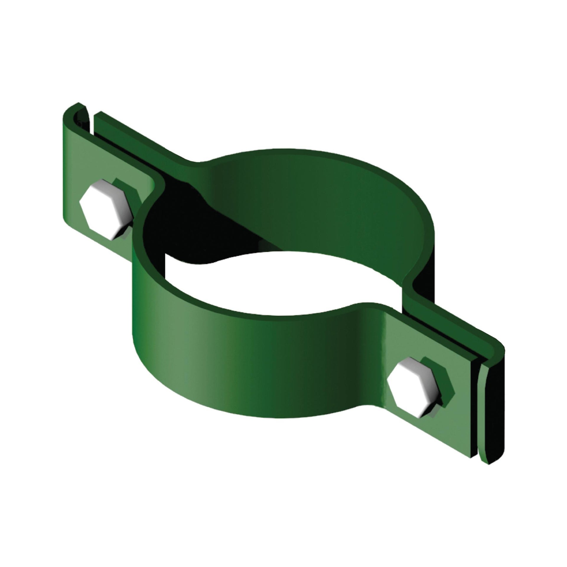 Collare di fissaggio in acciaio galvanizzato plastificato Doppio tondo Ø 48 mm H 2.5 cm L 12 x