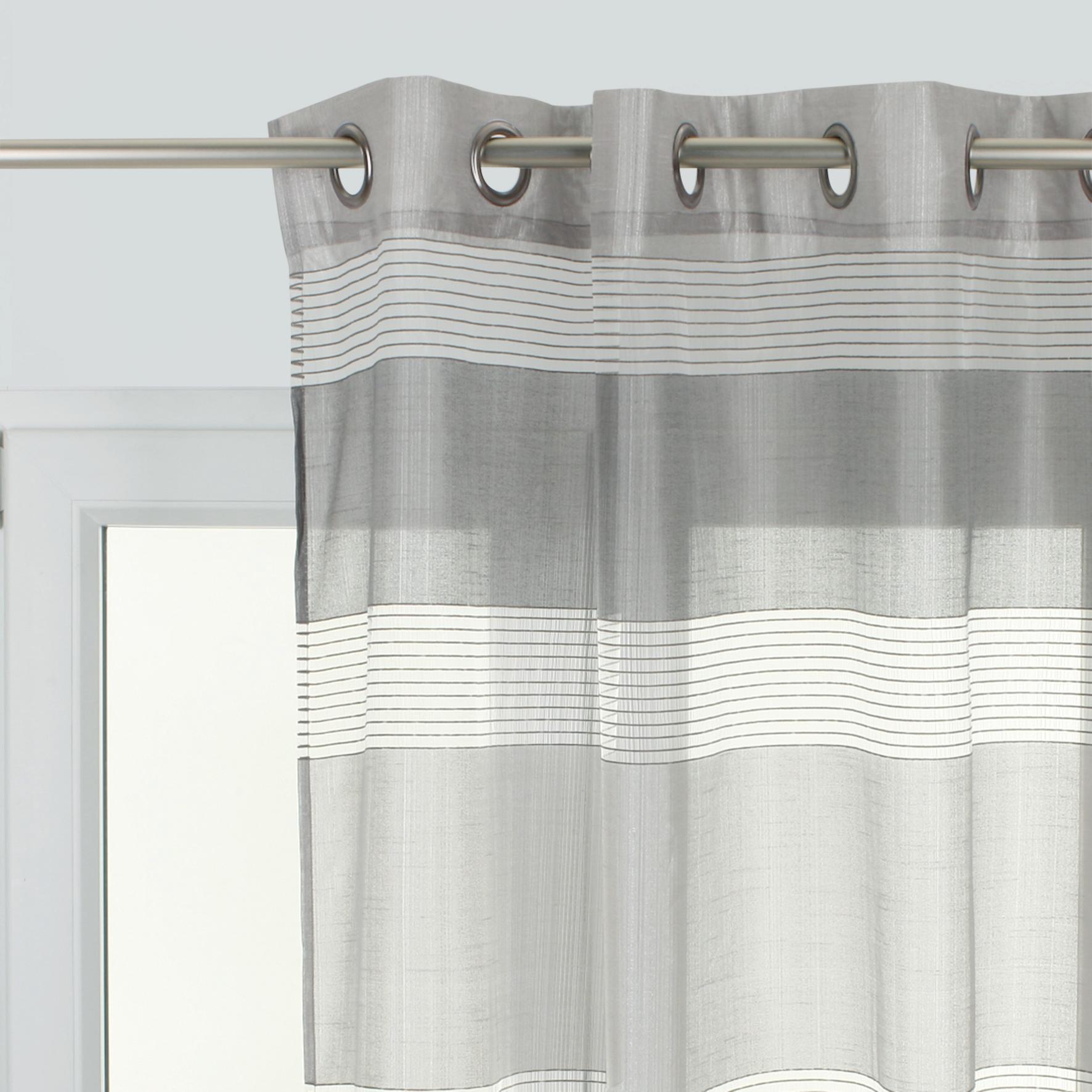 Tenda Stripe grigio occhielli 140 x 280 cm - 1