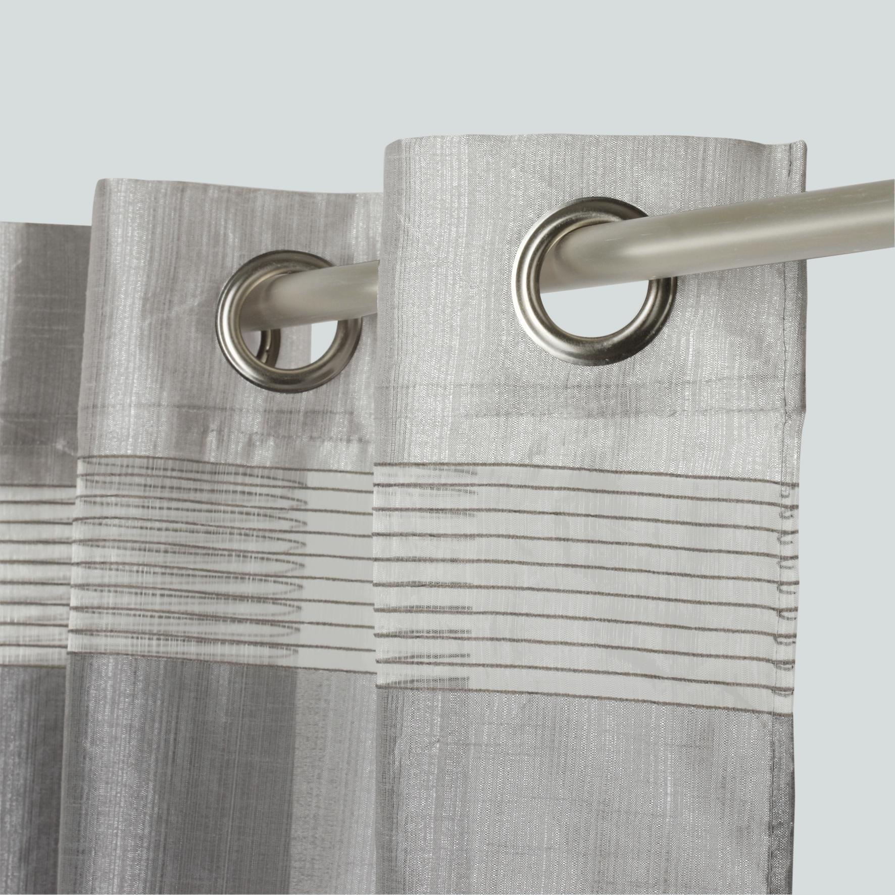 Tenda Stripe grigio occhielli 140 x 280 cm - 4