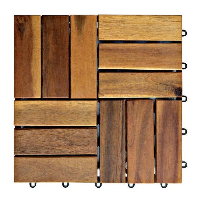 Piastrelle ad incastro ONEK in legno acacia 30 x 30 cm Sp 25 mm, marrone - 1