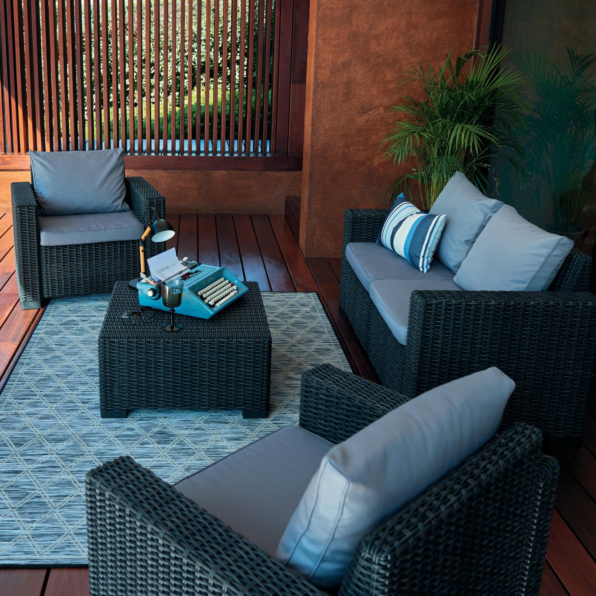 Divano da giardino con cuscino 2 posti in resina California colore antracite - 6