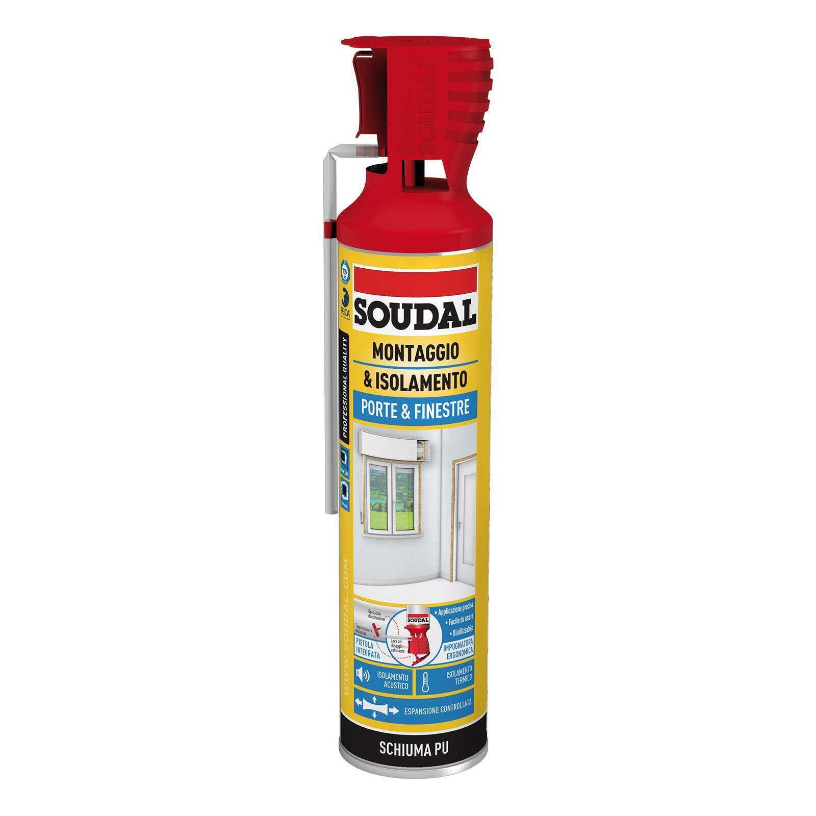 Schiuma di poliuretano SOUDAL Porte e finestre ecru per porta 0,6 ml - 2