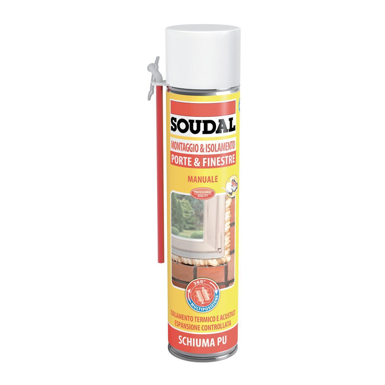 Schiuma di poliuretano SOUDAL Porte e finestre ecru per porta 0,6 ml - 1