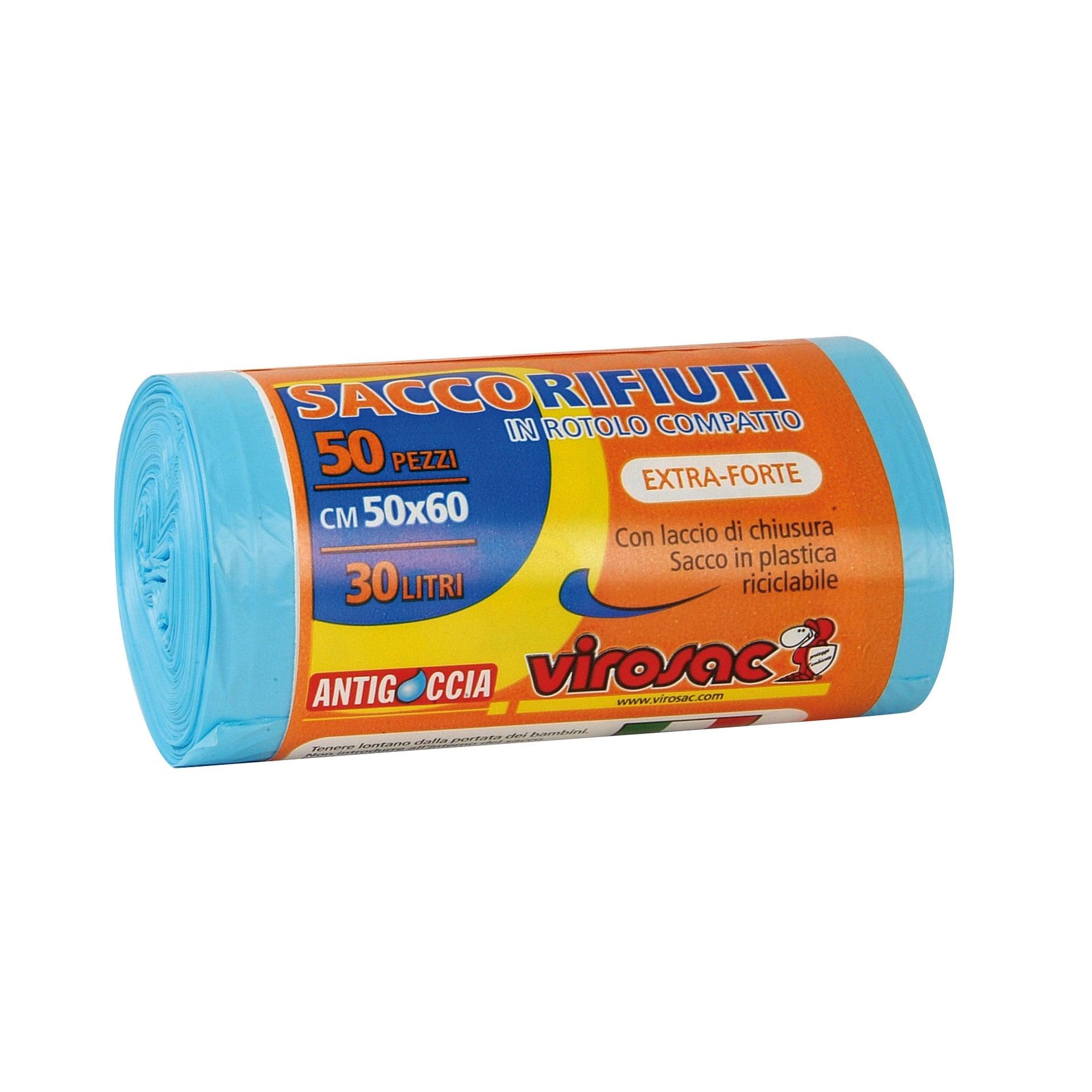 Sacchi spazzatura L 50 x H 60 cm 30 L azzurro 50 pezzi