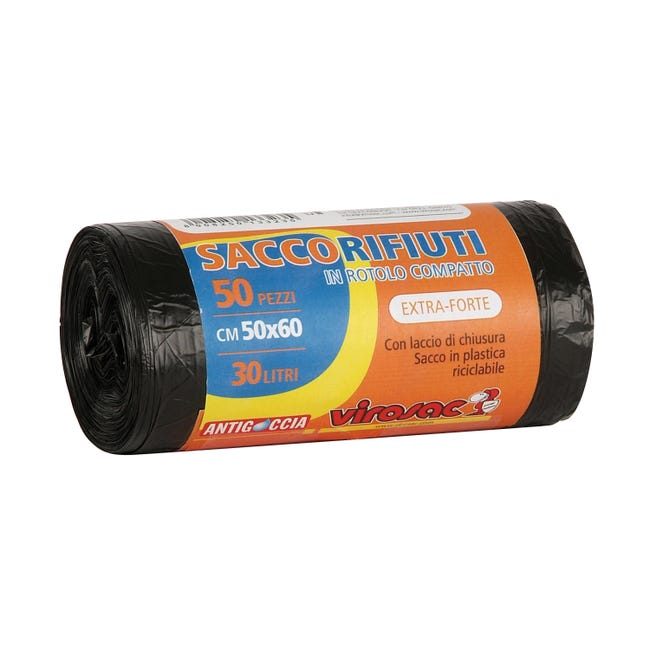 Sacchi spazzatura Virosac L 50 x H 60 cm 30 L nero 50 pezzi - 1