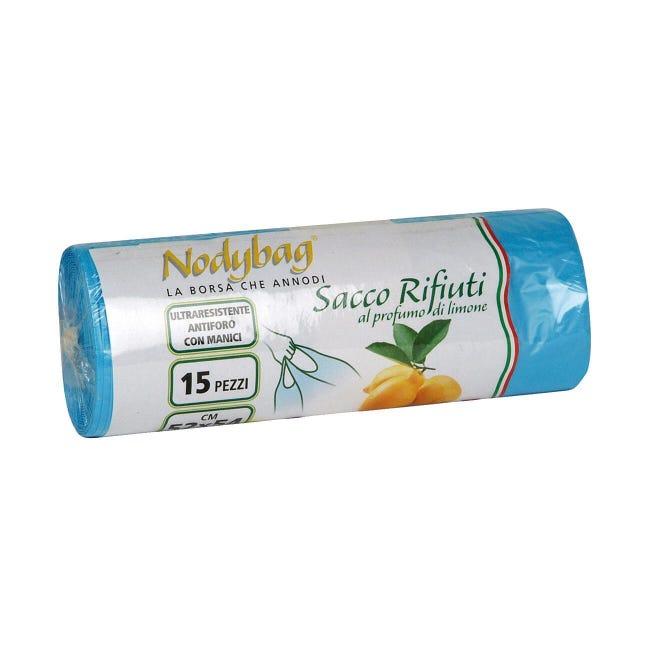 Sacchi spazzatura Nodybag Limone L 52 x H 54 cm 30 L azzurro 15 pezzi - 1