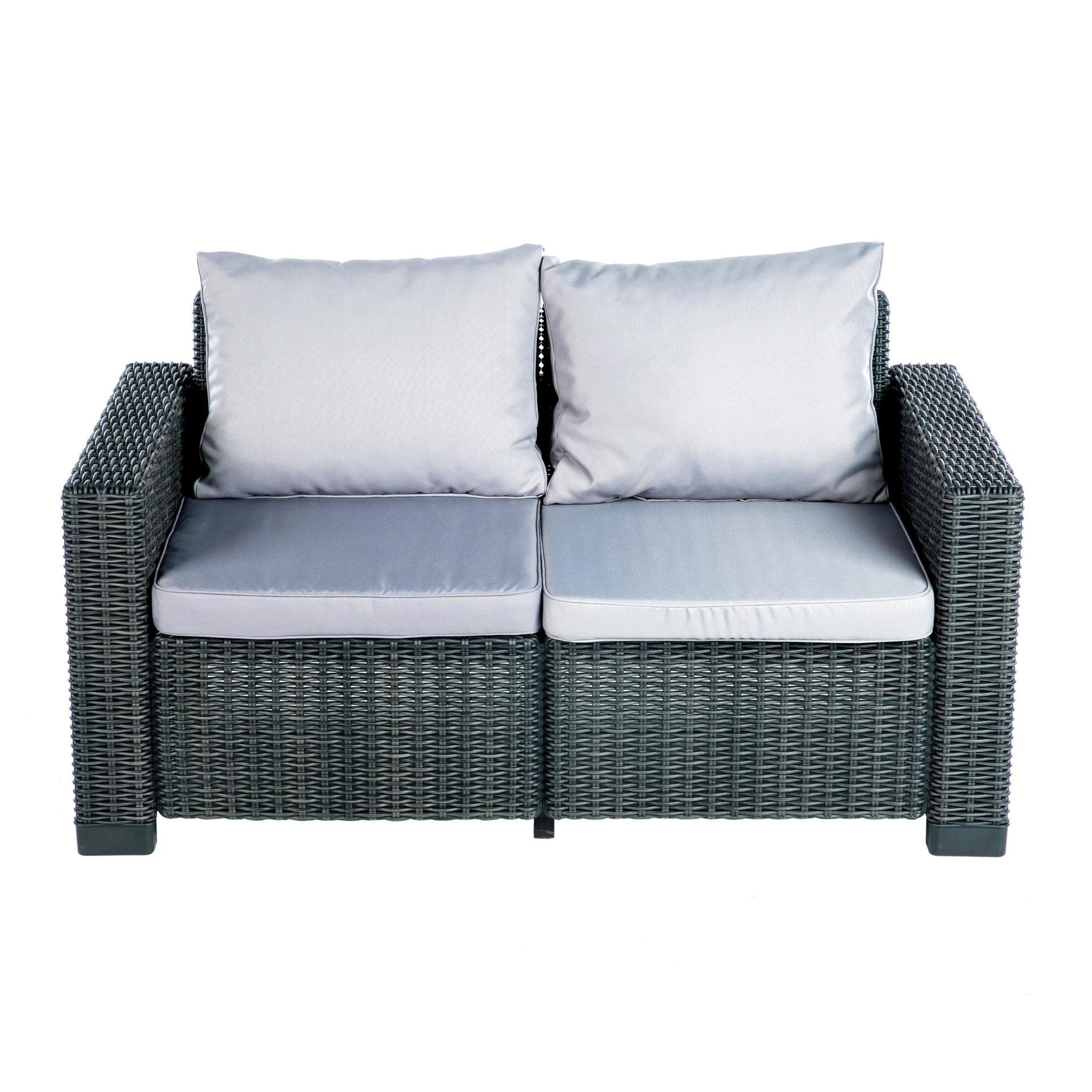 Divano da giardino con cuscino 2 posti in resina California colore antracite - 4