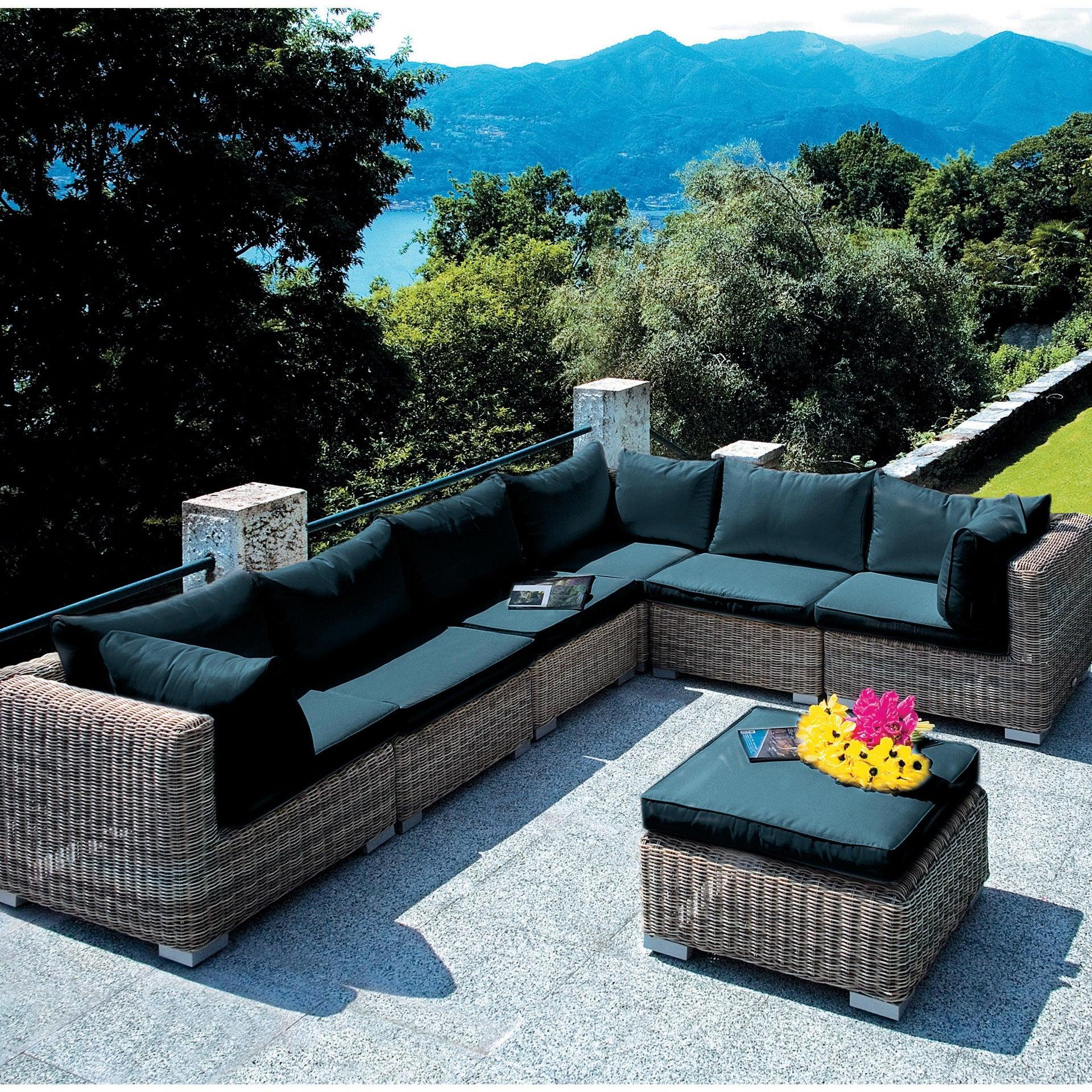 Poltrona da giardino con cuscino in rattan sintetico Antigua colore antracite - 2