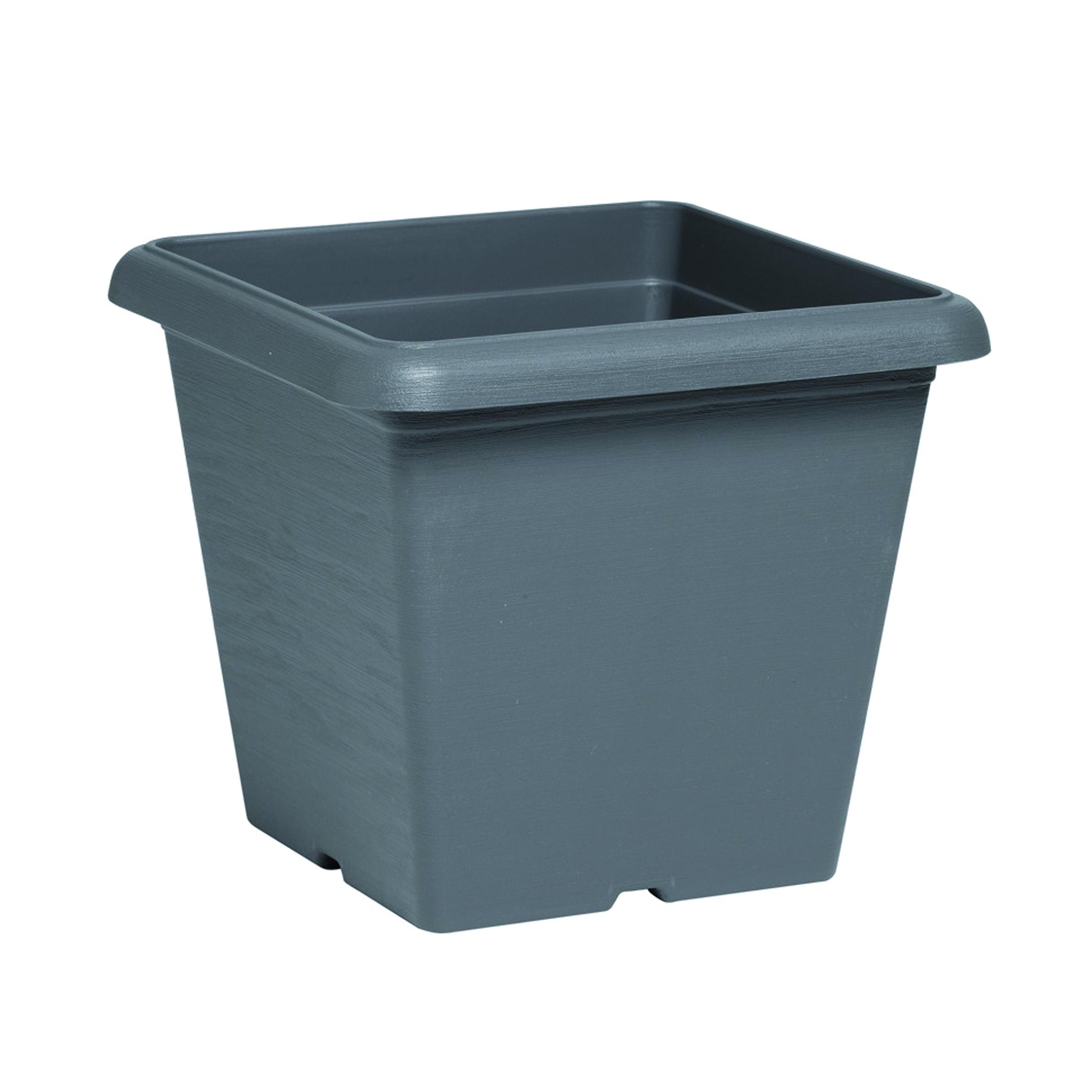 Vaso Terrae in polipropilene colore grigio H 21 cm, L 25 x P 25 cm