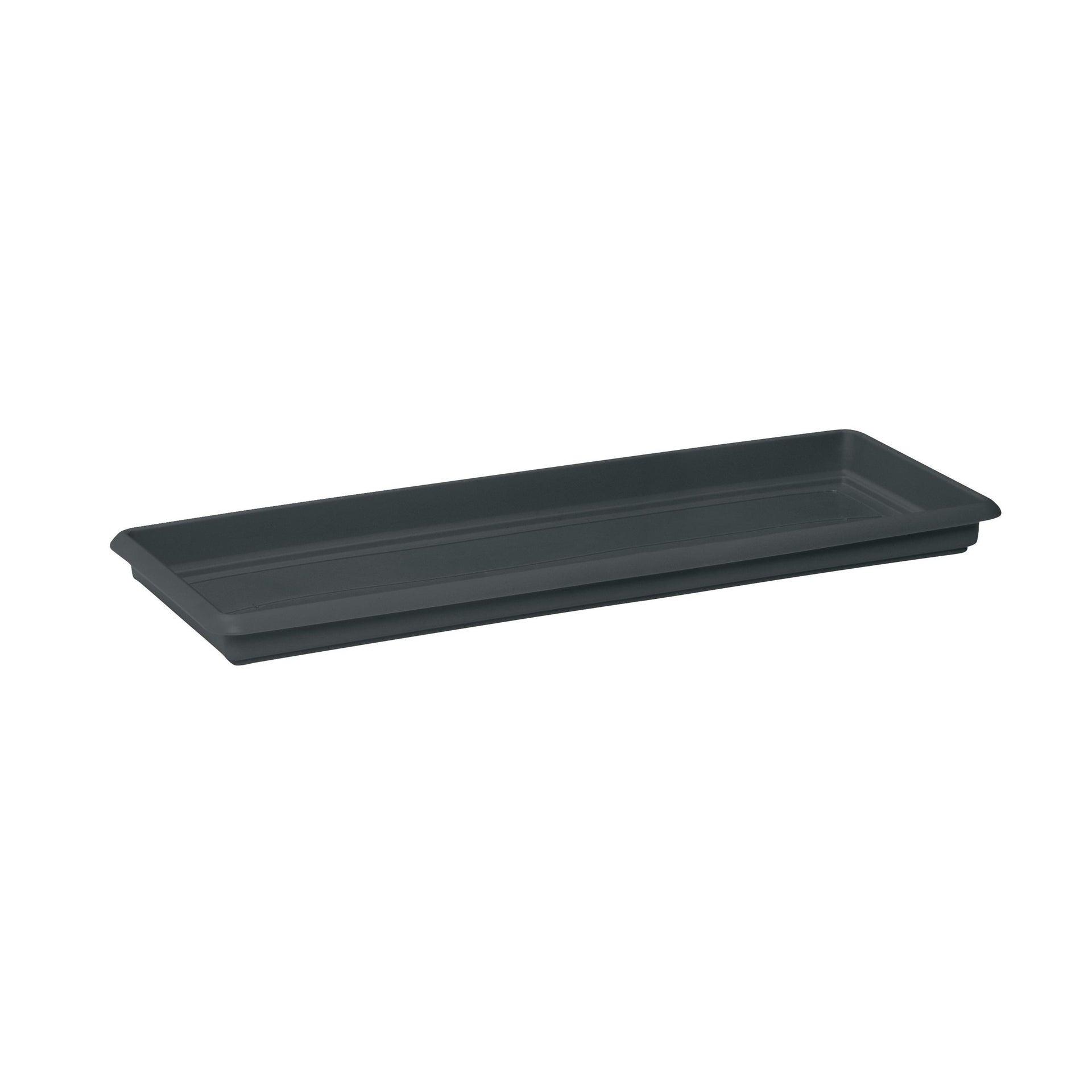 Sottovaso per fioriera in plastica colore grigio antracite P 38 x L 100 cm