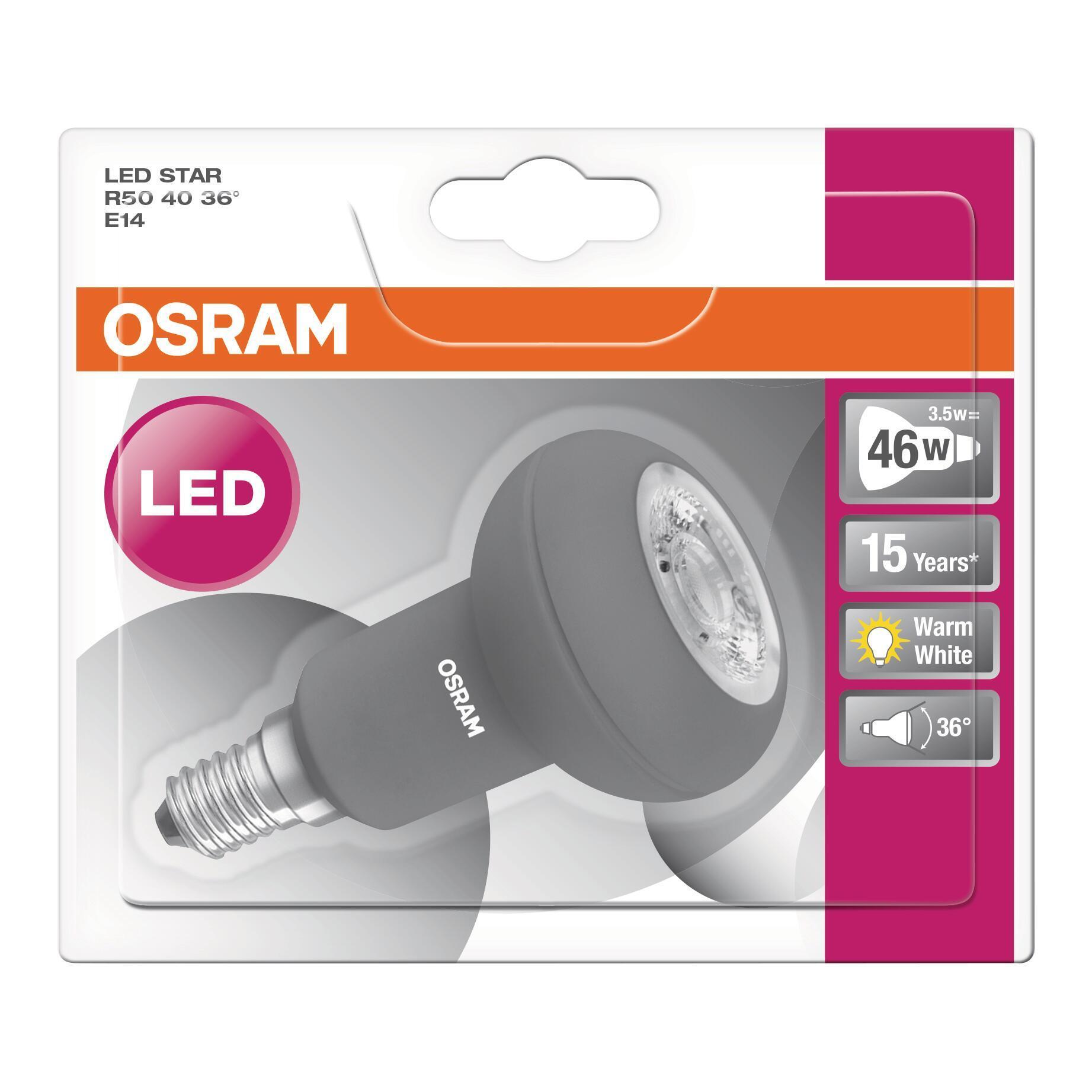 Lampadina LED, E14, Faretto, Opaco, Luce calda, 4W=230LM (equiv 46 W), 36° , OSRAM - 7