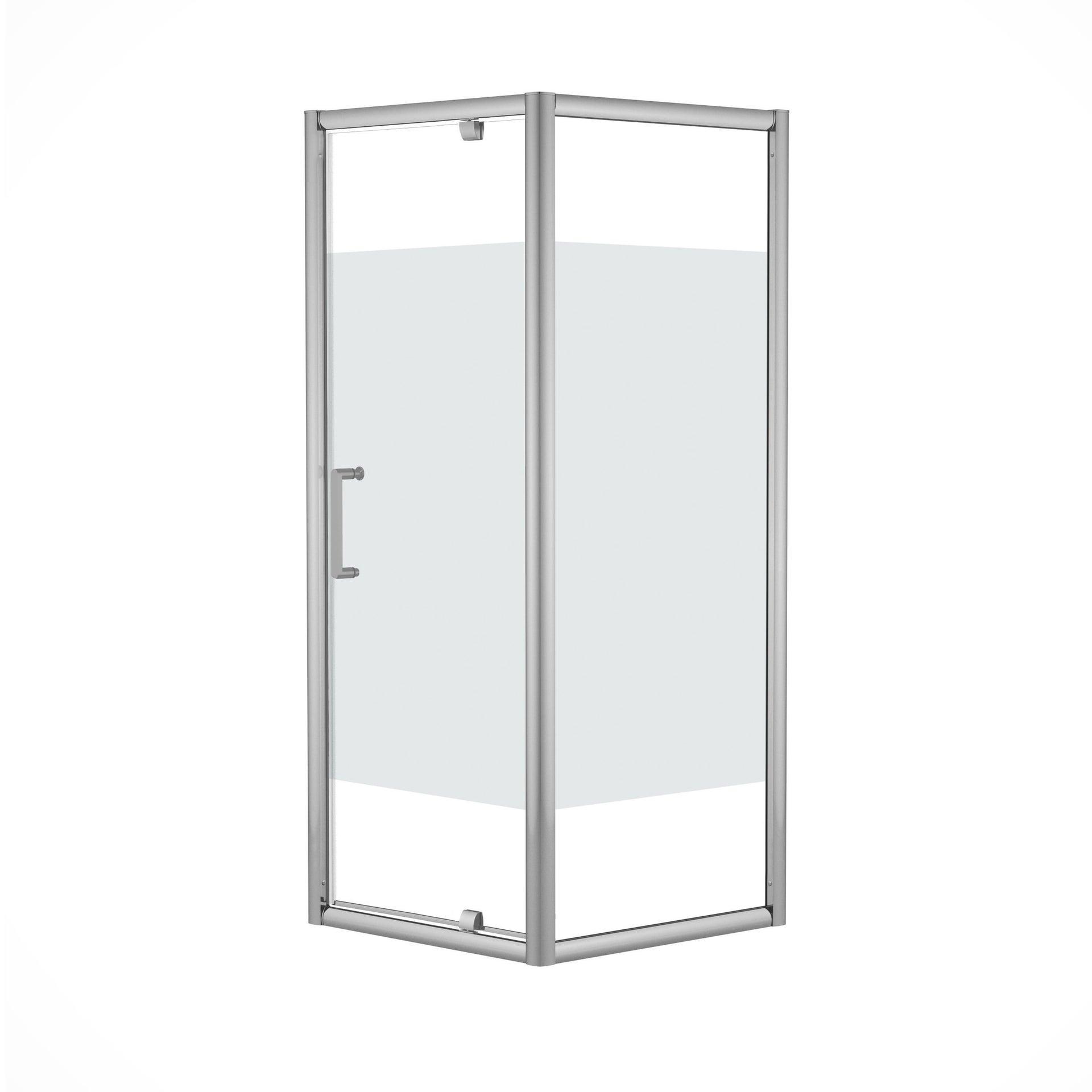 Box doccia quadrato battente Quad 70 x 80 cm, H 190 cm in vetro temprato, spessore 6 mm serigrafato argento - 4