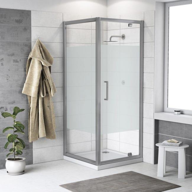 Box doccia quadrato battente Quad 70 x 80 cm, H 190 cm in vetro temprato, spessore 6 mm serigrafato argento - 1
