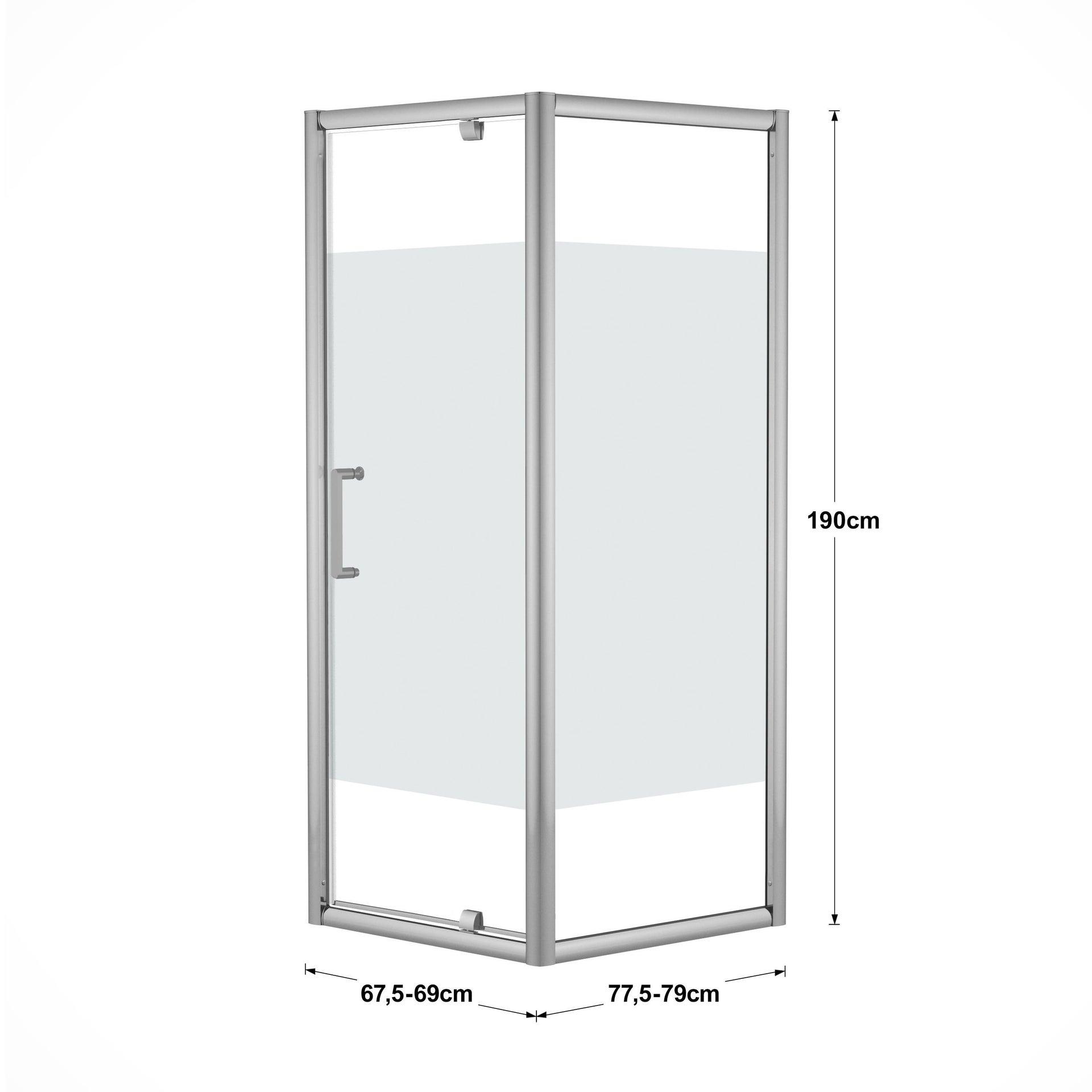 Box doccia quadrato battente Quad 70 x 80 cm, H 190 cm in vetro temprato, spessore 6 mm serigrafato argento - 3