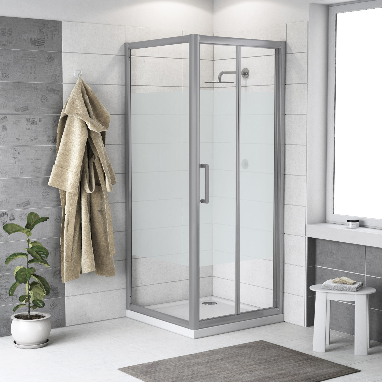 Box doccia rettangolare pieghevole Quad 70 x 80 cm, H 190 cm in vetro temprato, spessore 6 mm serigrafato argento - 1